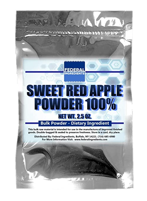 APPLE POWDER 100% (From sweet red apples) - 2.5 Ounces Lab Quality Sample - Made in the USA by Federal Ingredients - aka dehydrated apple slices dehydrated ...