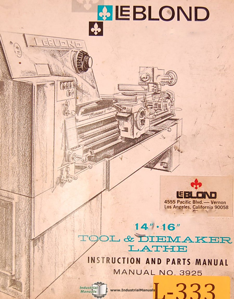 Leblond 14 16 Tool And Diemaker Lathe 3925 Instructions Wiring Schematic Parts Manual Books