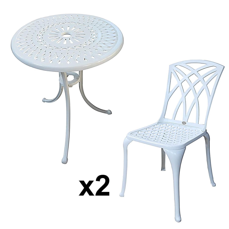 Weißer Eve 60cm Bistrotisch - 1 Weißer Eve Tisch + 2 Weiße MAY ...