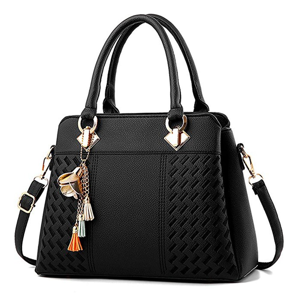 Womens Handbags and Purses Ladies Fashion Top Handle Satchel Tote PU Leather Shoulder Bags Crossbody Bag (Black)