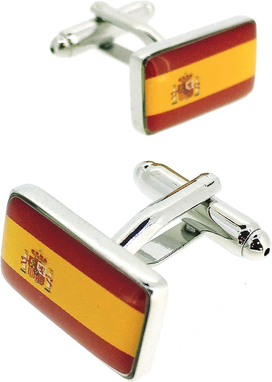 Gemelos para Camisa Bandera de España: Amazon.es: Joyería