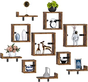 Rolanstar Floating Shelves, Wall Mounted Cube Shelves, Display Shelf Set for Decor and Storage for Living Room, Bedroom, Home Decor Furniture, Rustic Brown 2 Pack