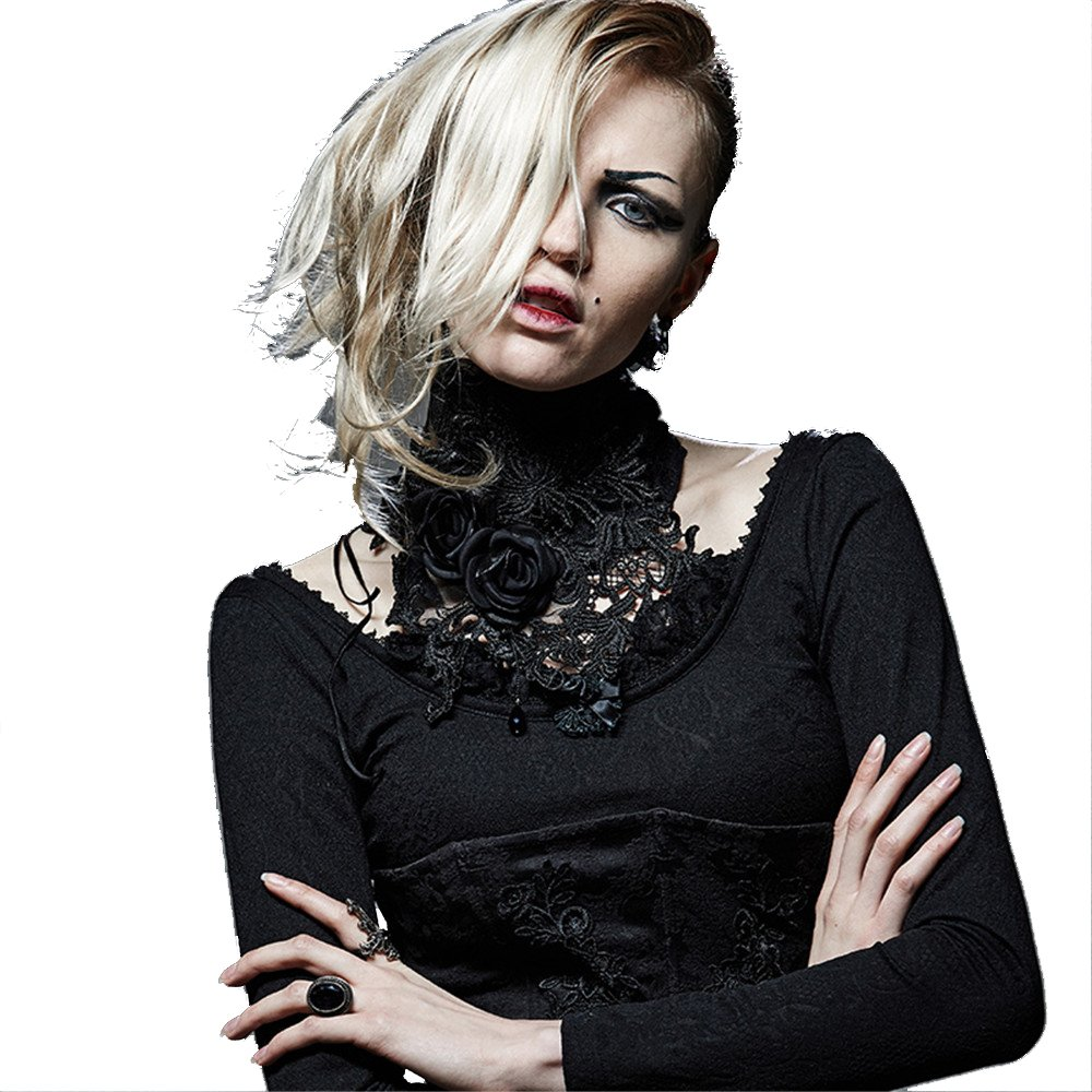 DEVIL SHACKLES Women Gothic Lace Necklace Punk Palace Asymmetric Collar for Party