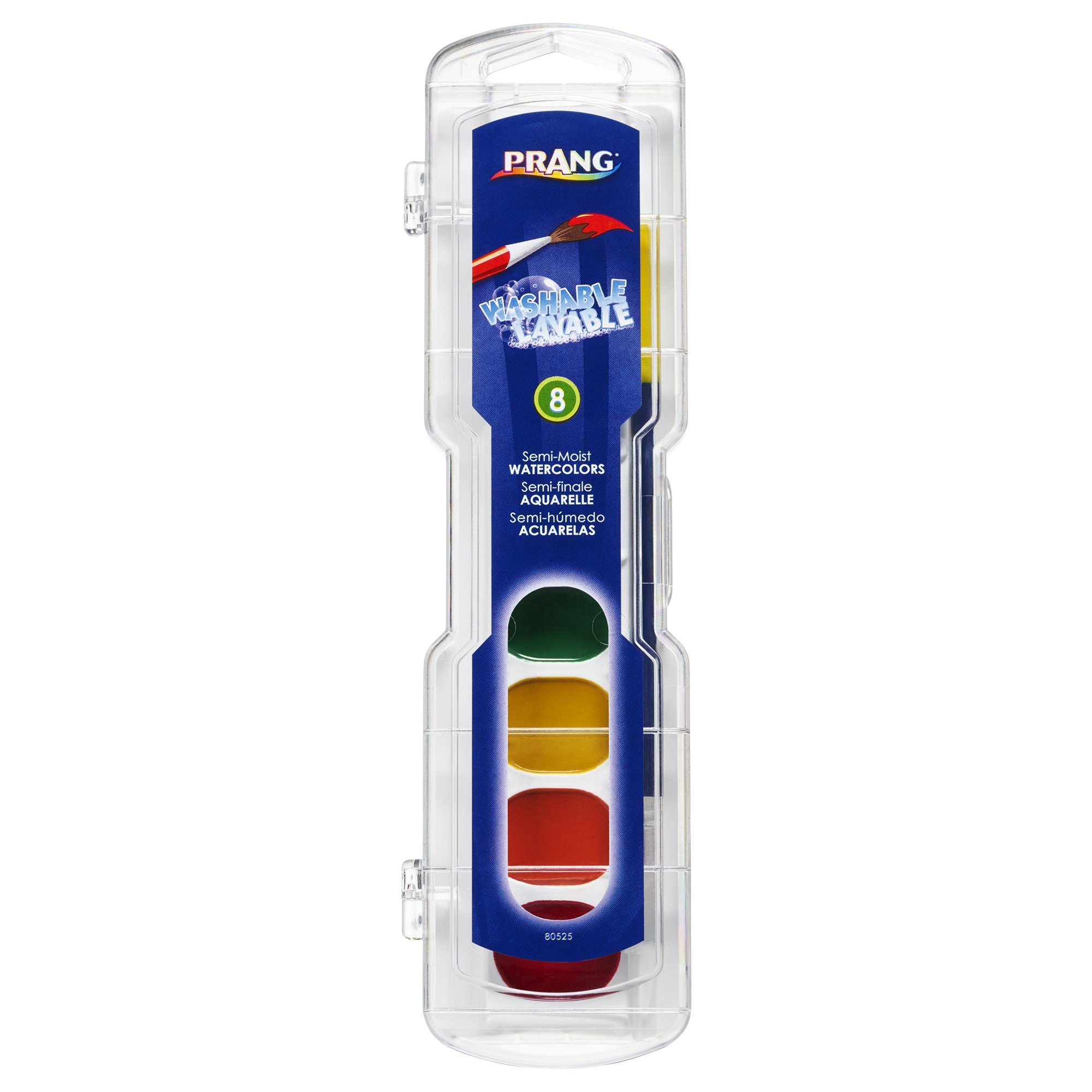 Prang Washable Watercolor Paint Set 8 Classic Colors with Brush 1-Pack (80525)