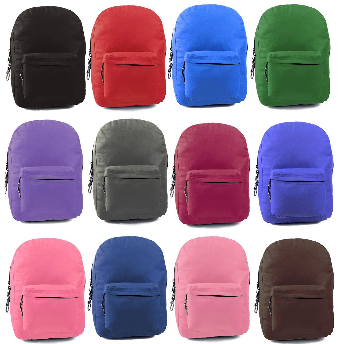 Wholesale 17'' Backpacks In 12 Solid Colors - Case of 24 by AIR EXPRESS