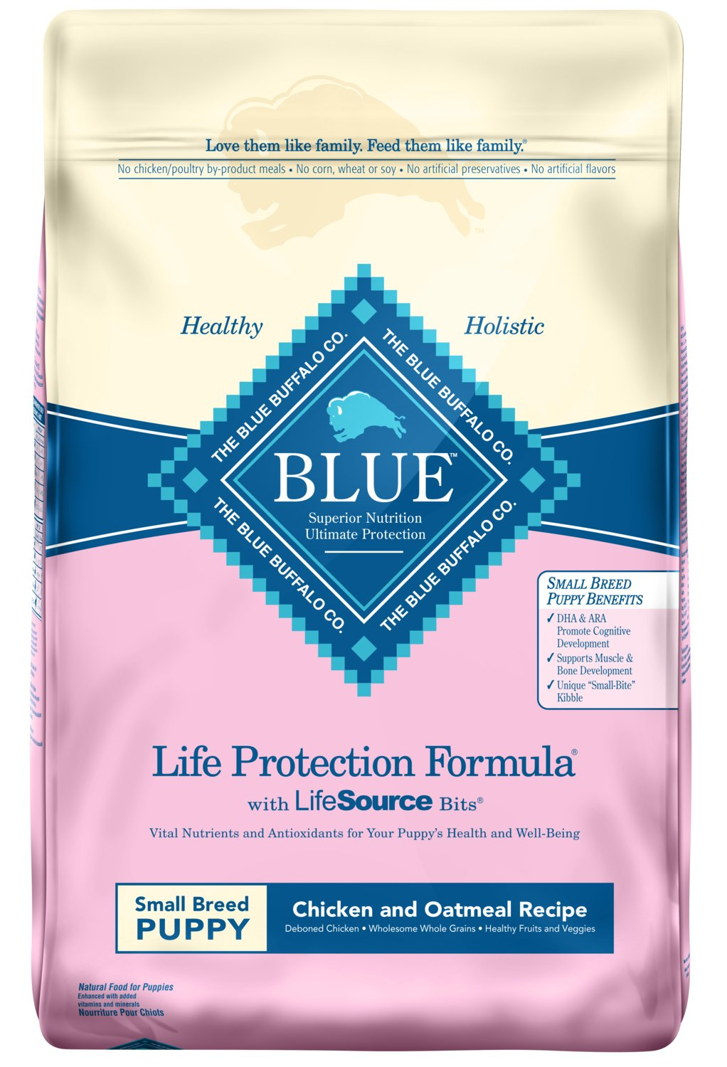 Blue Buffalo Life Protection Formula Natural Puppy Small Breed Dry Dog Food, Chicken and Oatmeal 15-lb