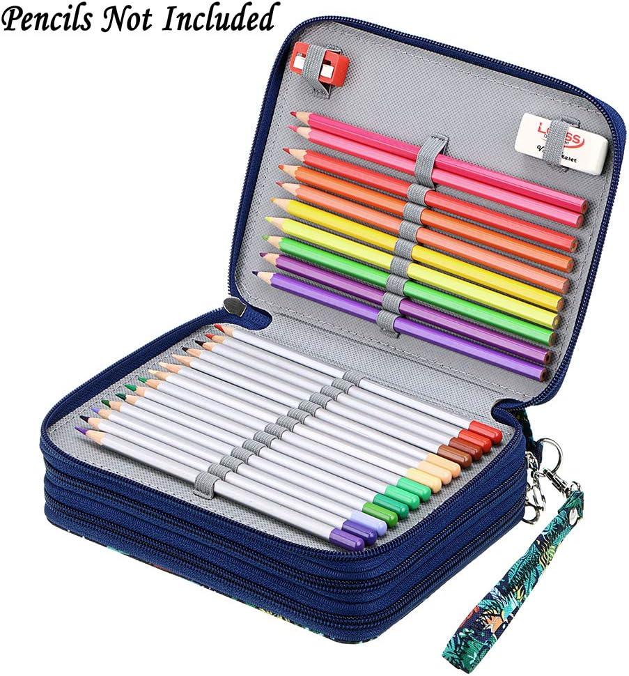 Marco Pencils Jungle Crayola Colored Pencils BTSKY Zippered Pencil Case-Canvas 72 Slots Handy Pencil Holders with Printing Pattern for Prismacolor Watercolor Pencils
