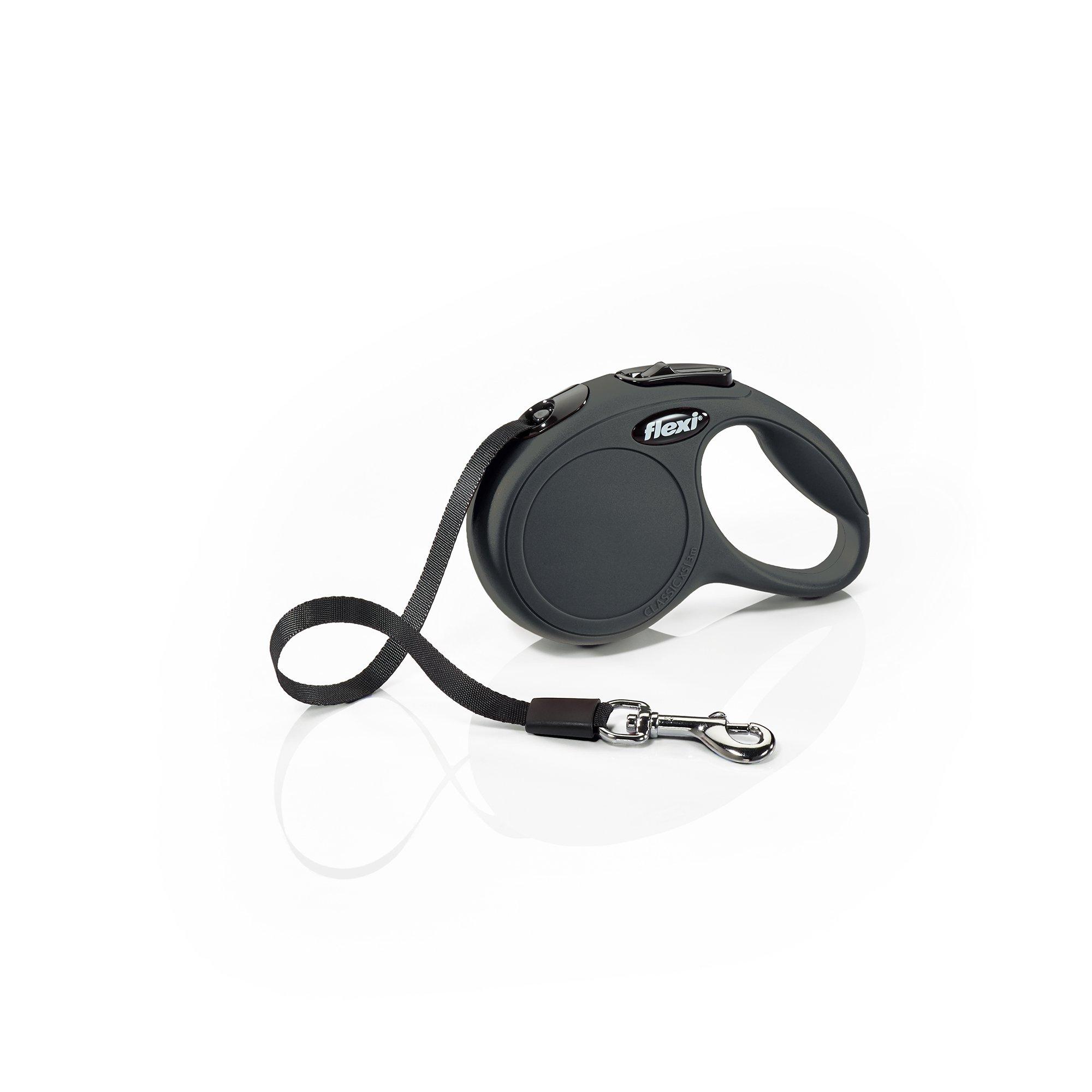 Flexi CL00T3.250.S New Classic Tape Retractable Leash, Black, X-Small/10'