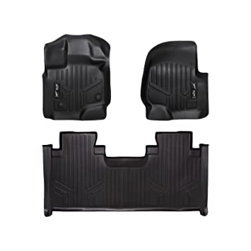 MAXFLOORMAT Floor Mats 2nd Row Black for 2015-2018 Ford F-150 SuperCrew With 1st