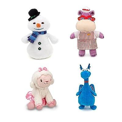 Disney Junior Jr Doc McStuffins CHILLY Snowman Bean Bag Plush & Hallie Hippo Bean Bag Plush & Stuffy Dragon Beanbag Plush and Lambie Beanbag Plush Doll: Toys & Games