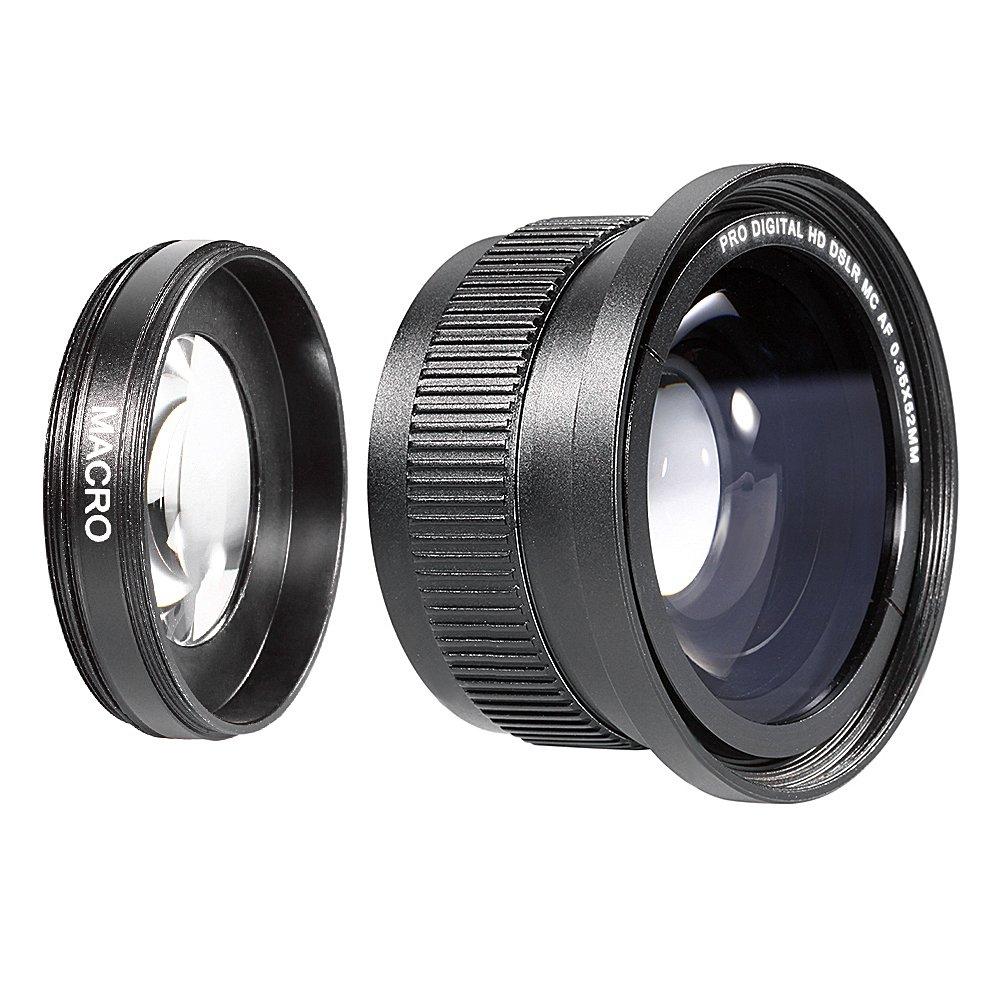 Neewer 52MM 0.35X High Definition II Wide Angle Macro Fisheye Lens for NIKON D5300 D5200 D5100 D3300 D3200 D3000 D7000 DSLR Cameras