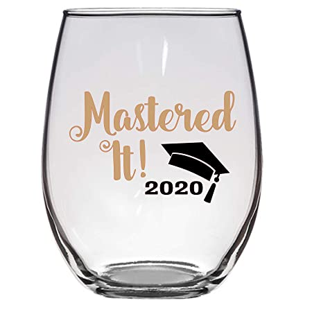 Mastered It 2020 Masters Graduation Wine Glass, Large 21 OZ