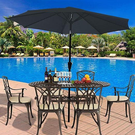 Giow 2.7m Parasol de jardín Sombrilla Luces solares LED Sombrilla con Mecanismo de manivela e inclinación para balcón al Aire Libre Jardín Patio (Azul): Amazon.es: Hogar