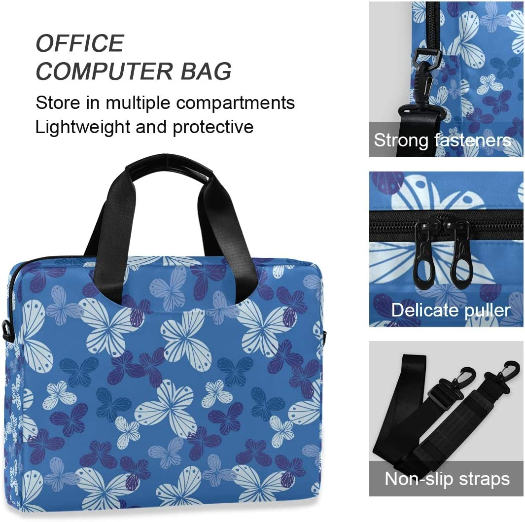 Cute Laptop Cases 15.6 for Women Laptop Shoulder Bag Carrying Briefcase Handbag Sleeve Case Butterfly Shapes in Shades of Blue