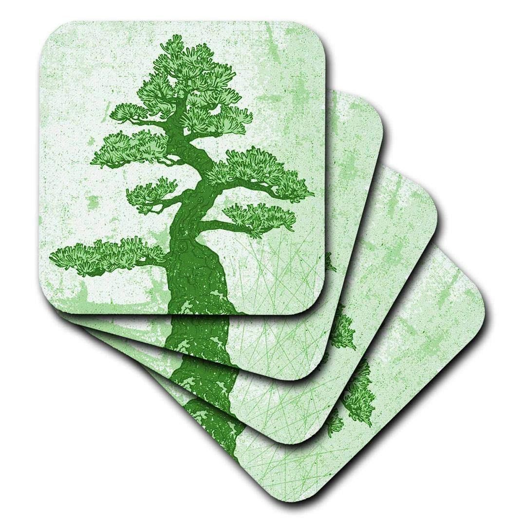 3dRose CST_78469_3 Pretty Green Oriental Tree-Ceramic Tile Coasters, Set of 4