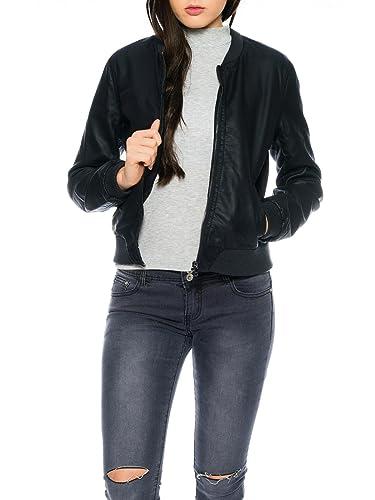 Only Mujer Bomber de avión de chaqueta chaqueta de piel Adele Faux Leather Jacket Negro
