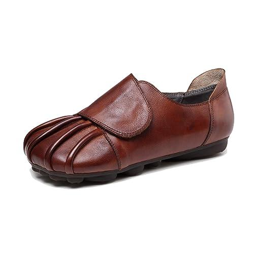 Mocasines Blandos en otoño para Mujer Mocasines de Moda Vintage Zapatos Casuales Hechos a Mano con Velcro: Amazon.es: Zapatos y complementos