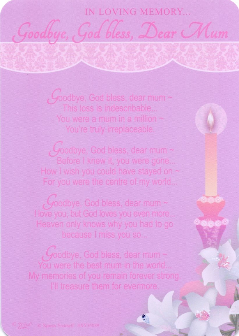 God Bless Grave//Graveside Memorial Card Goodbye In Loving Memory Dear Mum