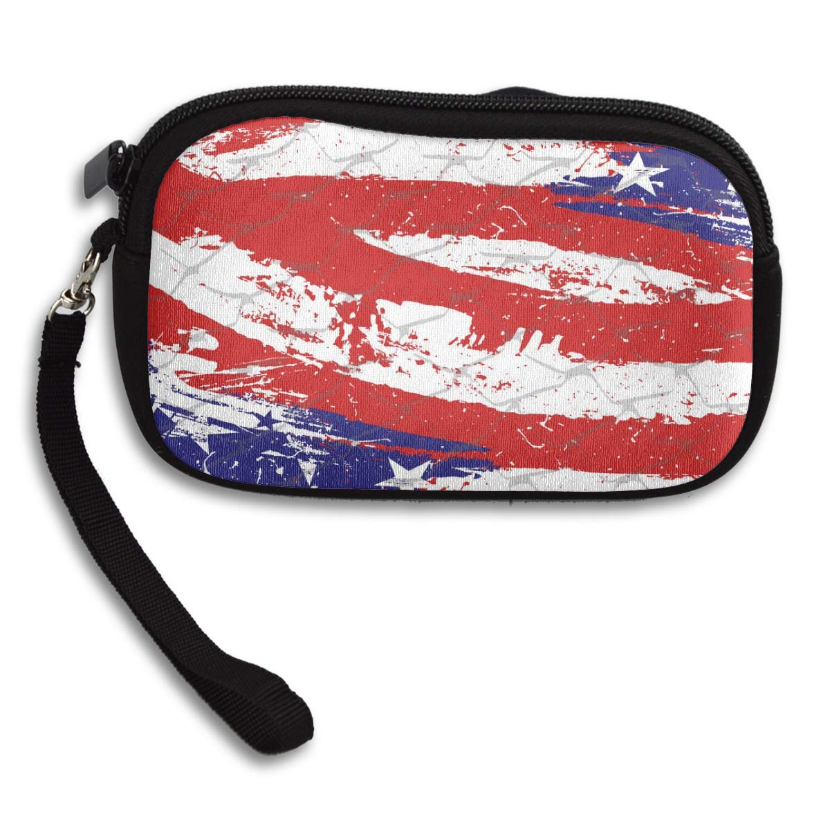 Coin Purse Paint America Flag wallet change Purse with Zipper Wallet Coin Pouch Mini Size Cash Phone Holder