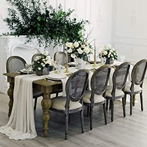 QueenDream 2 Pack Sheer Chiffon Table Runner Wedding Party Home Garden Outdoor Indoor Arch Decorations 10Ft Ivory Table Runners