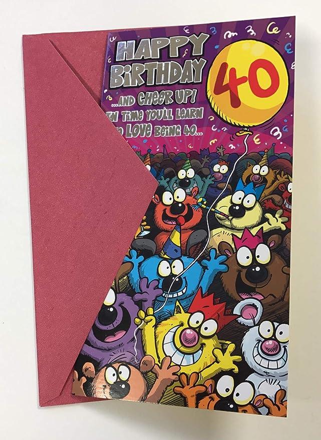 Forget Me Not Terror Tarjeta de cumpleaños 40 años 20,96 cm ...