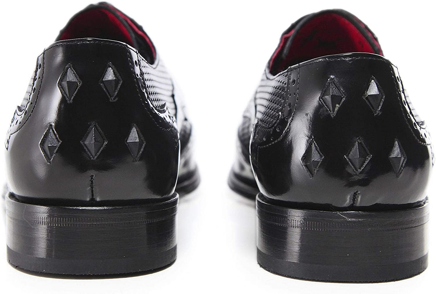 Jeffery-West Mens Perforated Leather Scarface Shoes Black