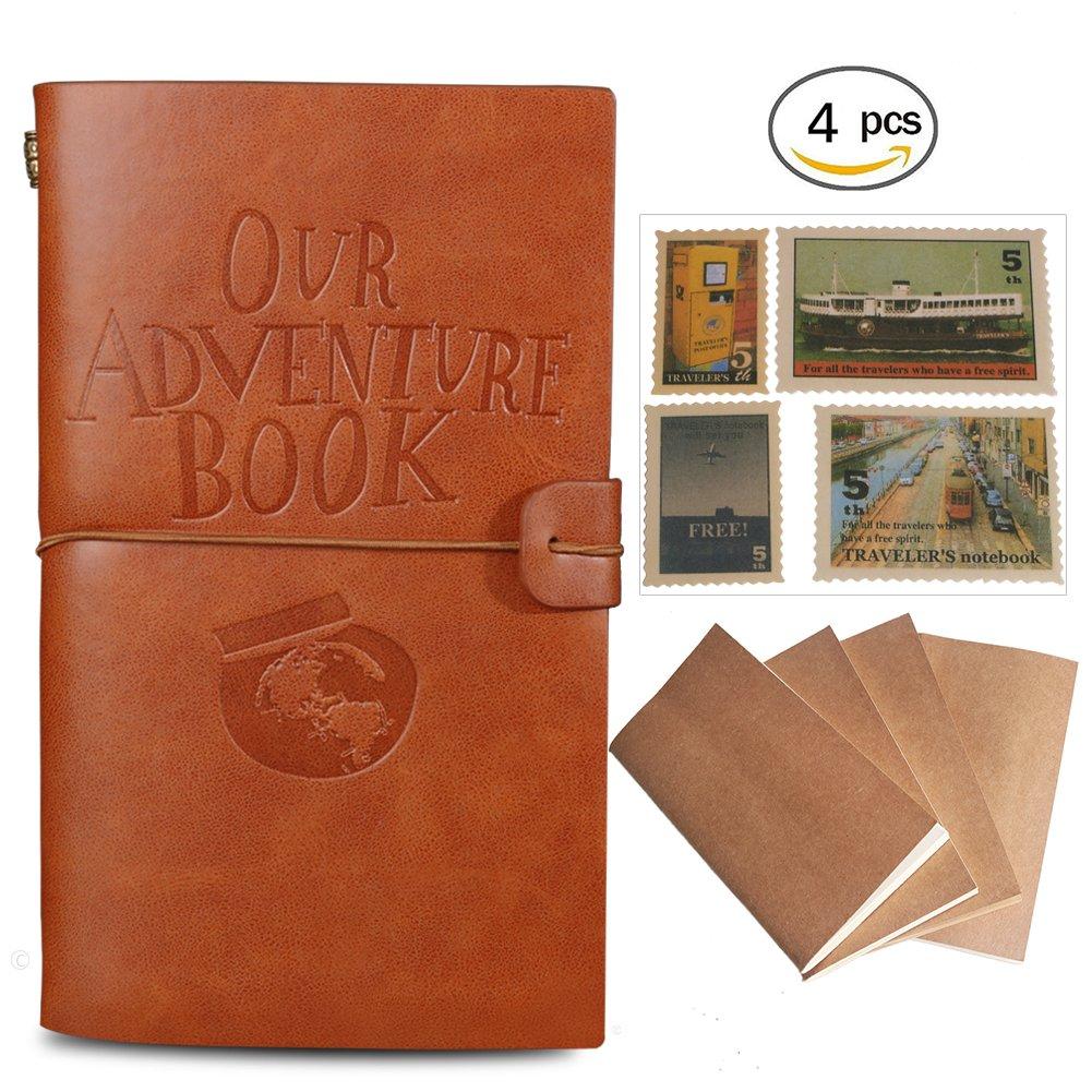 Cuaderno de cuero ldquoOur Adventure Book rdquo rellenable Brown Color