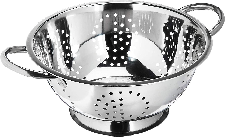 Home Basics Deep Colander Stainless Steel 3 Quart#44;