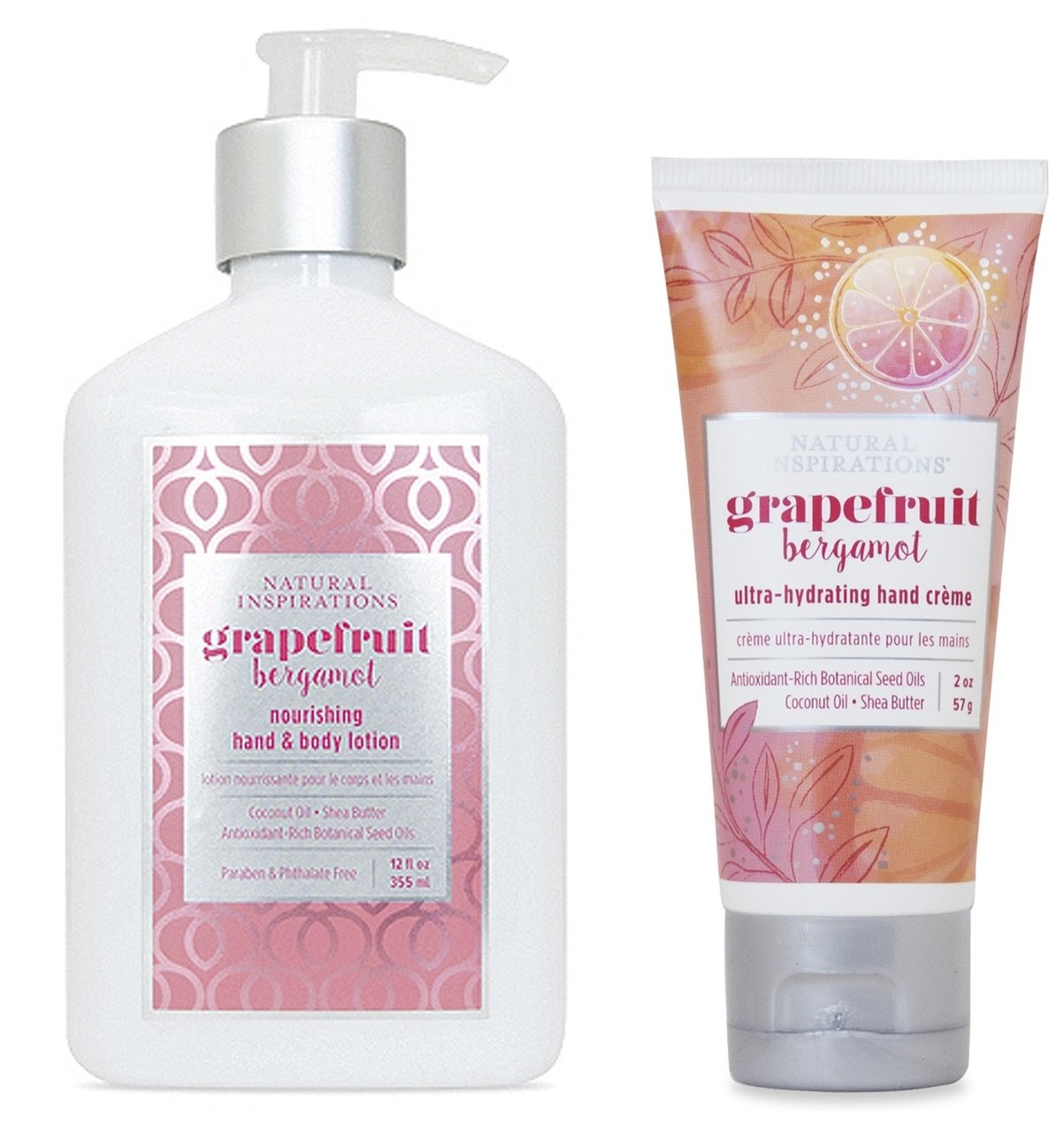 Natural Inspirations Hand & Body Lotion and Hand Creme Gift Set - Grapefruit Bergamot