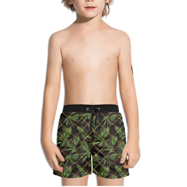 Trum Namii Boys Quick Dry Swim Trunks Tropical Flowering Plants Shorts