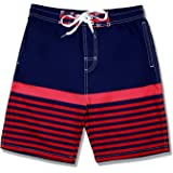 Kute 'n' Koo Boys Swim Trunks, UPF 50+ Quick Dry Striped Boys Swim Shorts, Boys Bathing Suit