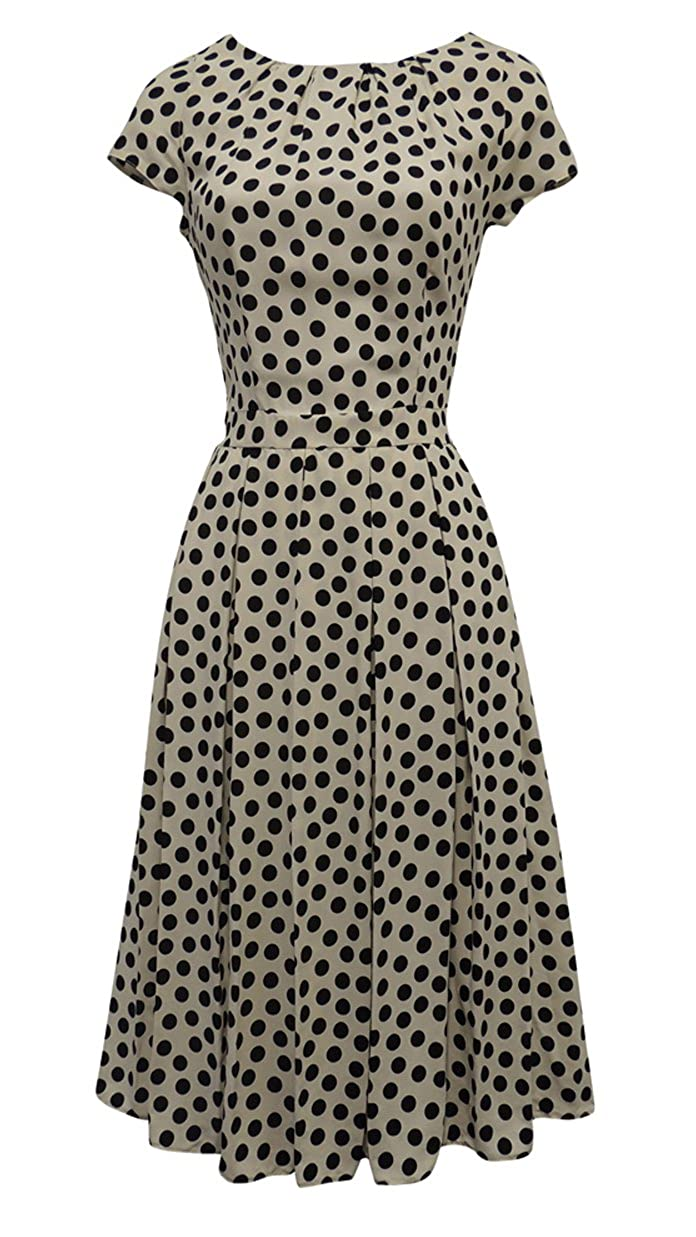 50s Dresses UK | 1950s Dresses, Shoes & Clothing Shops Viva-la-Rosa New Ladies Polka Dot WWII 1930s/40s VTG Style Land Girl Swing Tea Dress £28.99 AT vintagedancer.com