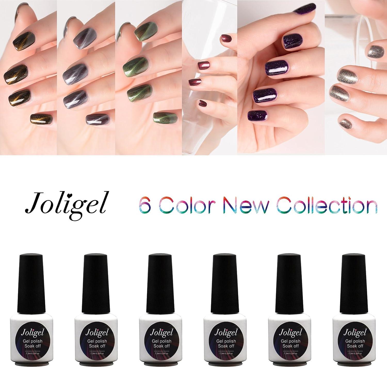 Joligel Esmaltes Permanentes Uñas Shellac Gel UV LED Manicura Nail Art, 3x Magnéticos Efecto Ojo Gato 3D + 3x Colores con Purpurinas Superfinas, ...