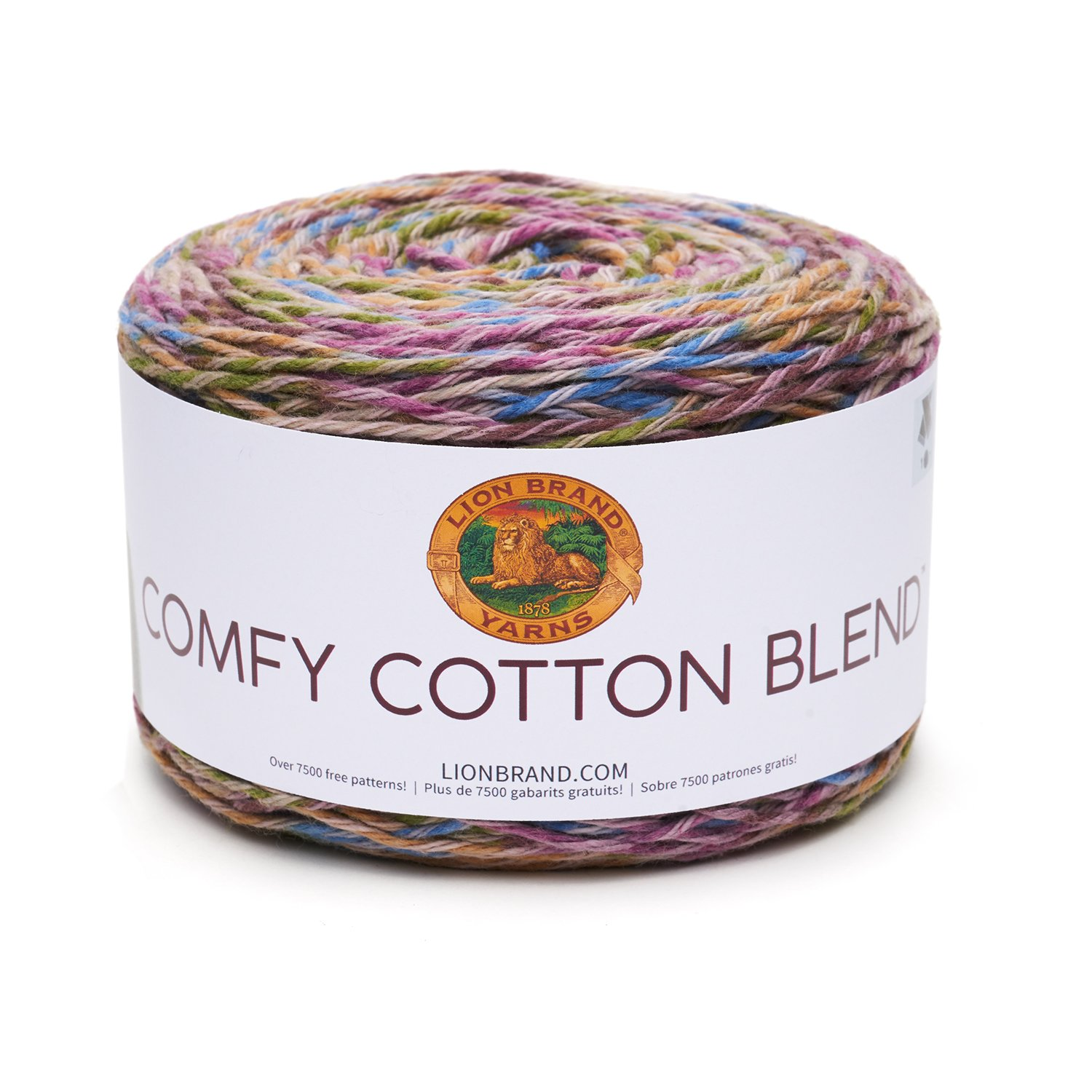 Lion Brand Yarn 756-704 Comfy Cotton Blend Yarn, Stained Glass Lion Brand Yarn Company