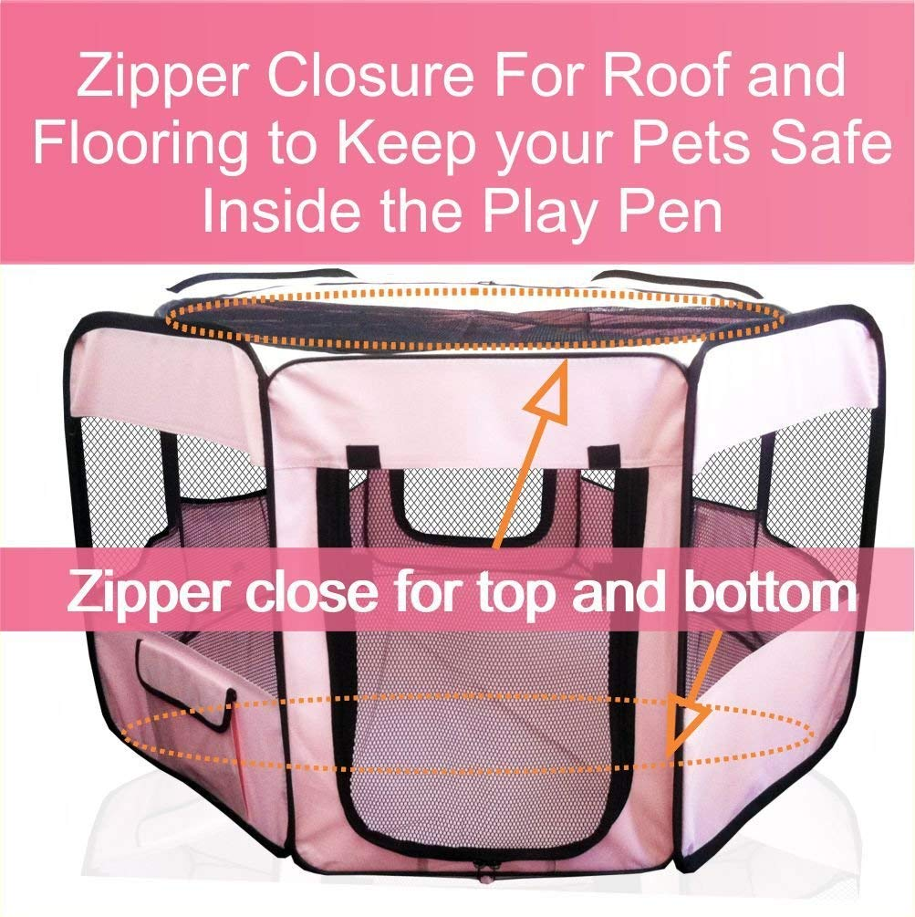 """ToysOpoly #1 Premium Pet Playpen – Large 45"""" Indoor/Outdoor Cage. Best Exercise Kennel for Your Dog, Cat, Rabbit, Puppy, Hamster or Guinea Pig. Portable Fabric Pen for Easy Travel (Light Pink) by ToysOpoly (Image #3)"""
