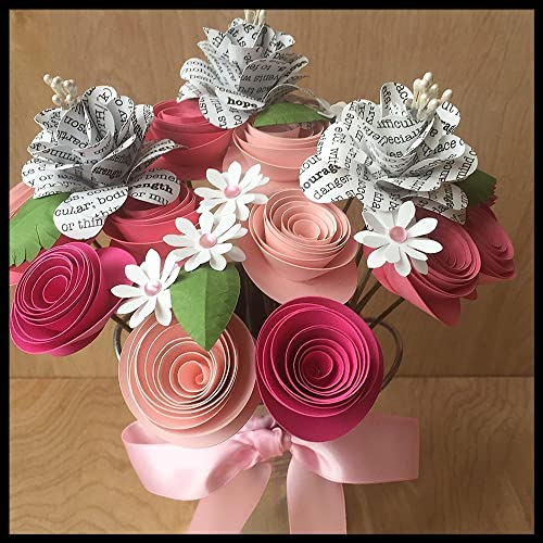 Amazon pink ribbon breast cancer awareness paper flower pink ribbon breast cancer awareness paper flower arrangement mightylinksfo