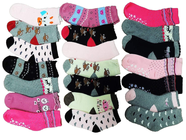 10 Paar Mädchen Thermo Winter Socken Größe 19-39