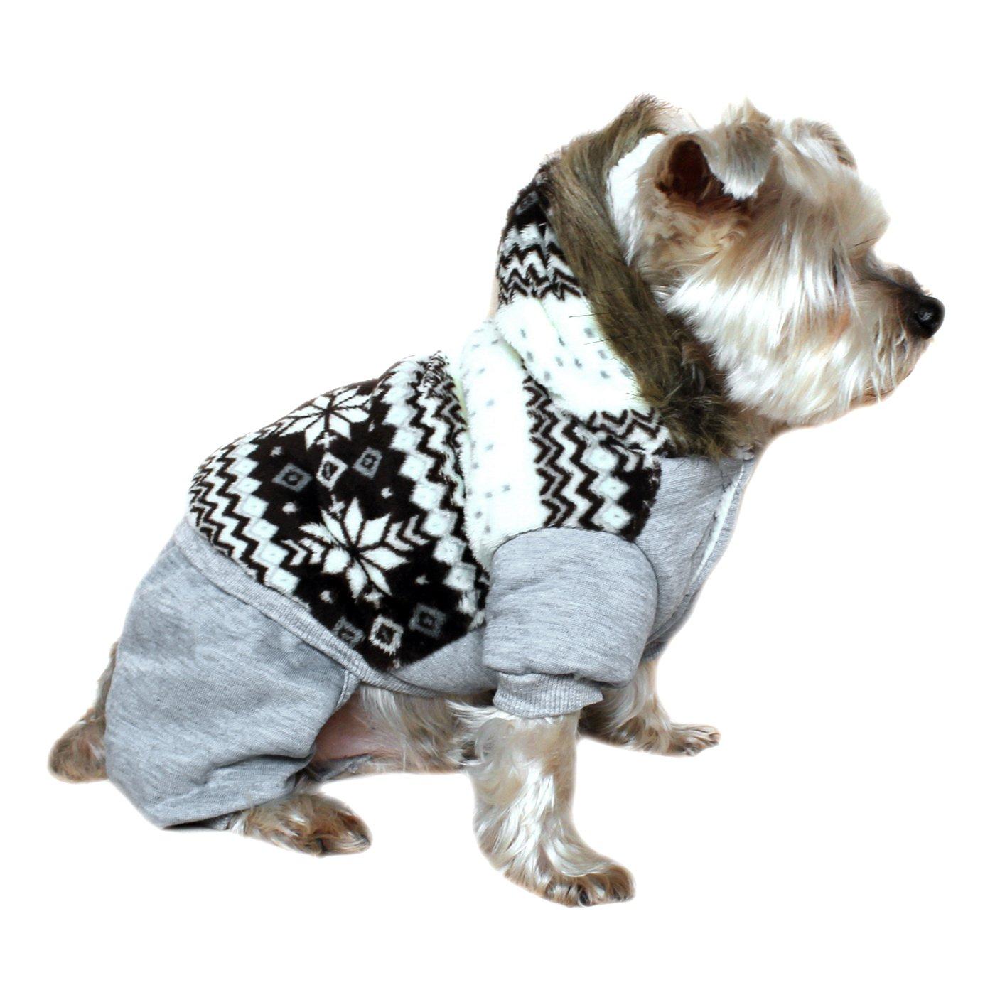Alfie Pet by Petoga Couture - Nova Hooded Jumper - Color Grey, Size: Medium