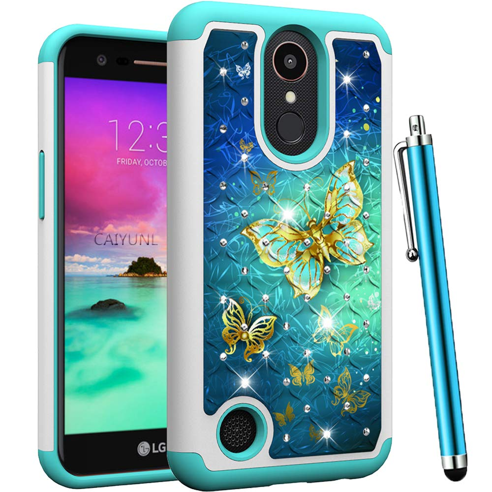 CAIYUNL for LG K20 V Case, LG Harmony/LG K20 Plus/LG Grace/LG K20 /LG K10 2017/LG LV5 Luxury Bling Studded Rhinestone Shockproof Hybrid Dual Layer Protective Hard PC&Silicone Cover-Blue Butterfly