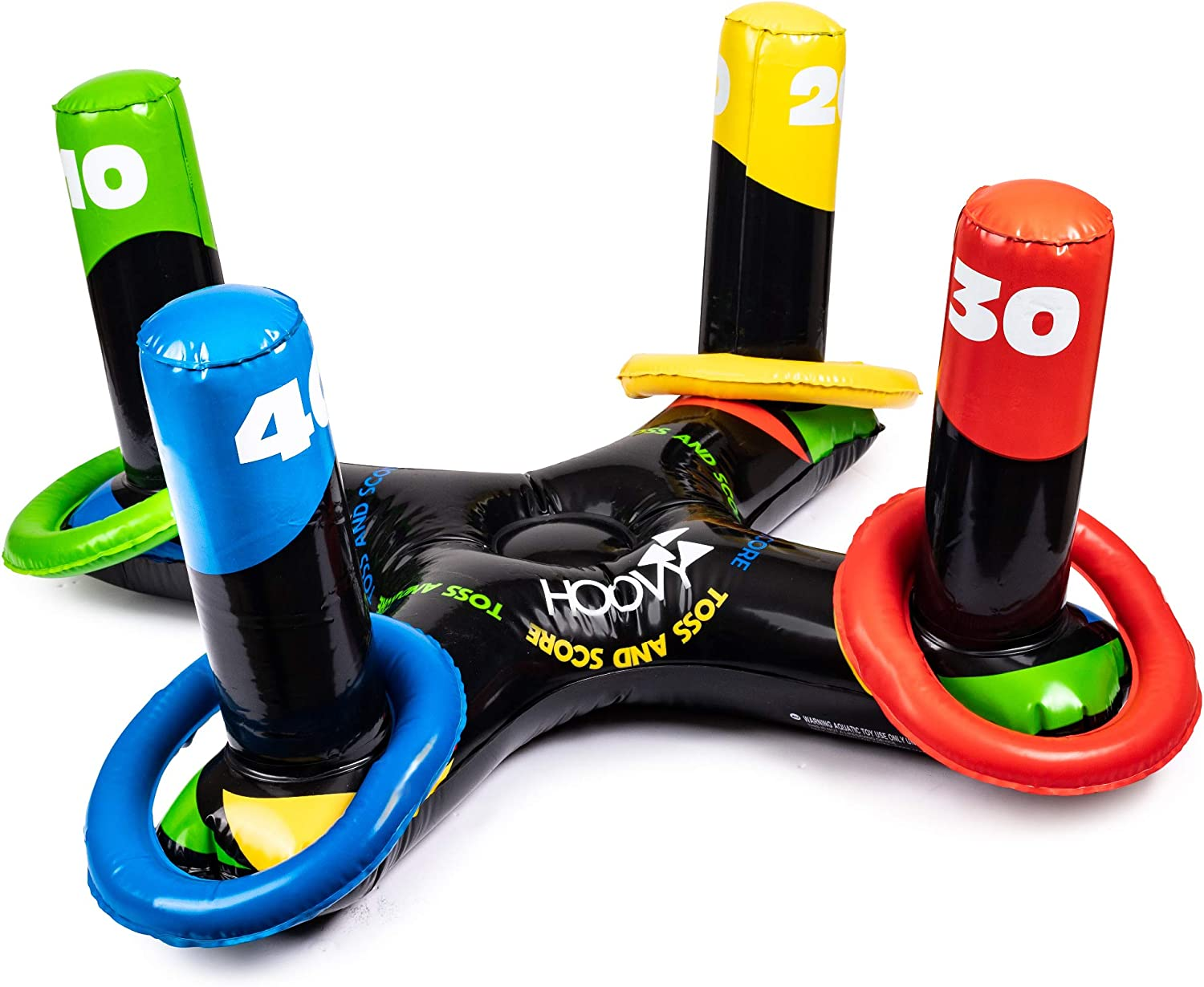 Hoovy Inflatable Pool Ring Toss Game | Inflatable Swimming Pool Water Game | Ring Game with 4 Ring Toss Rings | Throwing Ring Play for Multiplayer | Party Game for Indoor/Outdoor