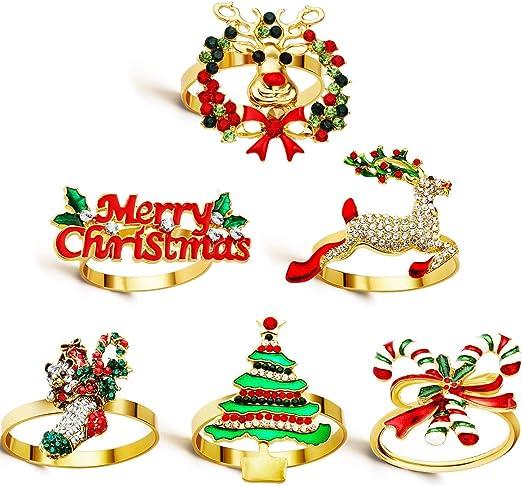 Rojo Holibanna 5Pcs Anillos de Servilleta de Navidad Anillos de Servilletero para La Decoraci/ón de La Mesa Del Hogar de Acci/ón de Gracias de Navidad de Vacaciones