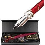 Pen kit d'oie Plume Dip Stylo kit sculpté à la main Feather Dip Pen kit à découper avec élégant Stylo support/bouteille d'encre/5Plume (Noir/rouge/vert) - Red