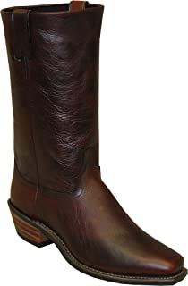 "product image for Abilene Men's 12"" Flat Top Cowhide Western Boot Square Toe Brown 11.5 D"