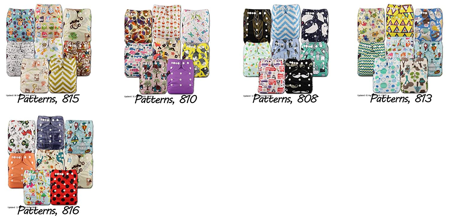 Set of 8 Reusable Pocket Cloth Nappy Littles /& Bloomz Fastener: Popper Patterns 808 with 8 Bamboo Inserts