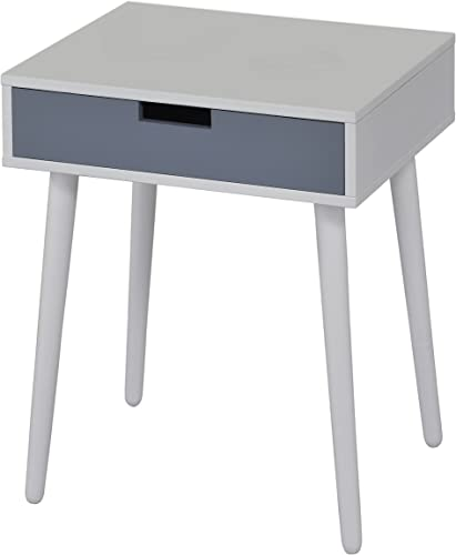 Kings Brand White Grey Finish Wood Side End Table Night Stand with Drawer
