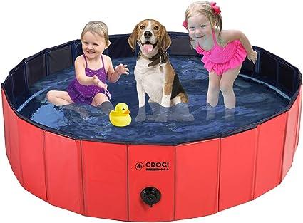 Croci Foldable Dog Pool Kiddie Pool, Portable PVC Hard Plastic Pool