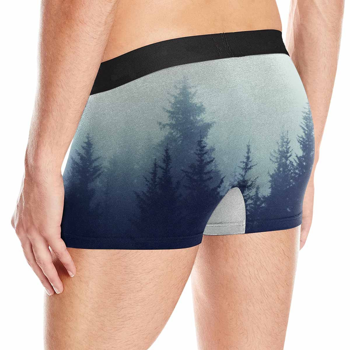 XS-3XL Color Toning INTERESTPRINT Boxer Briefs Mens Underwear Misty Mountain Forest Fog in Fir Forest on Mountain Slopes