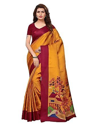 ca13a4b17238b Varayu Women s Mustard Color Khadi silk (Art silk) Printed Saree (811S109-Mustard