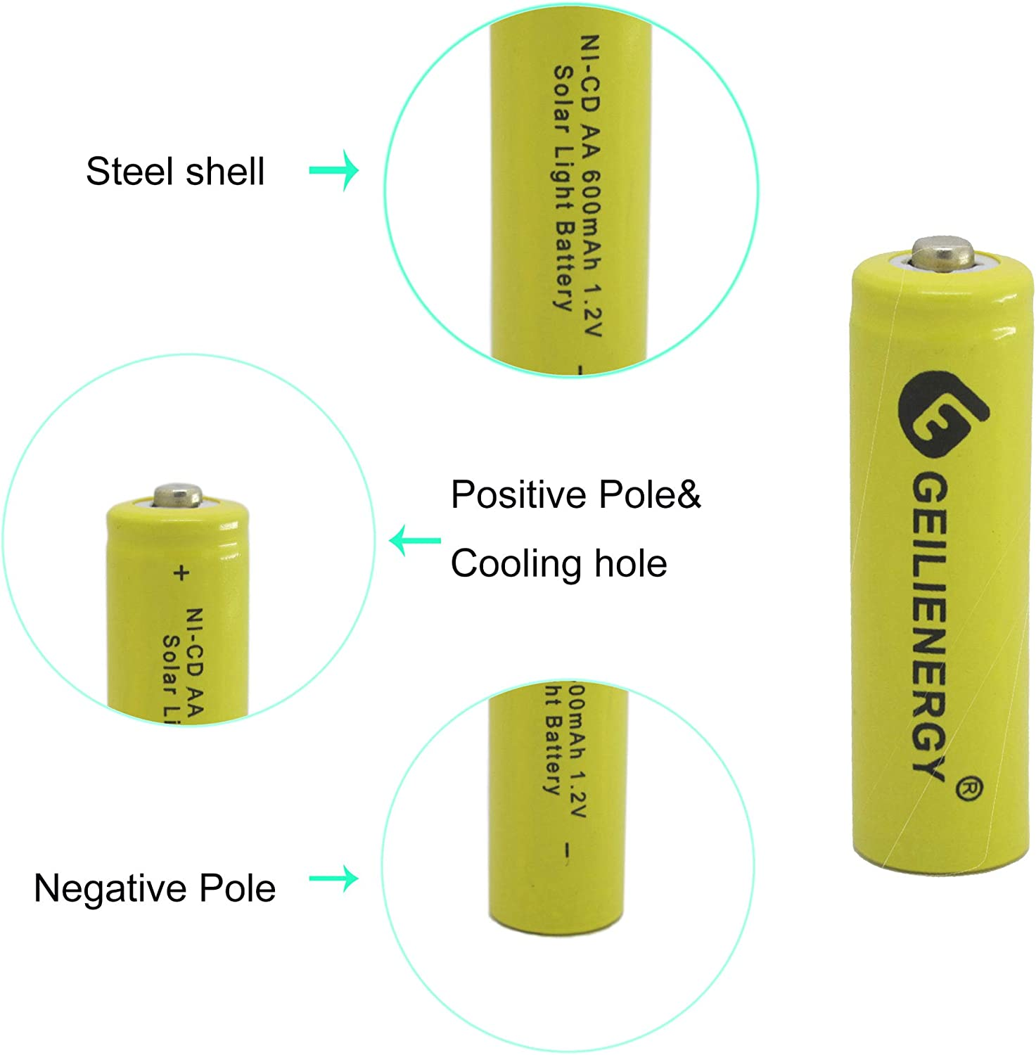GEILIENERGY 1.2v AA NiCd 600mAh Rechargeable Battery for Solar Light Lamp Green Color Pack of 12pcs AA NI-CD Batteries