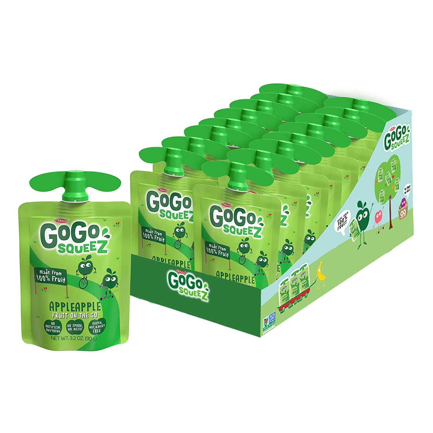 GoGo squeeZ Applesauce on the Go, Apple Apple, 3.2 Ounce (18 Pouches), Gluten Free, Vegan Friendly, Unsweetened Applesauce, Recloseable, BPA Free Pouches (Packaging May Vary)